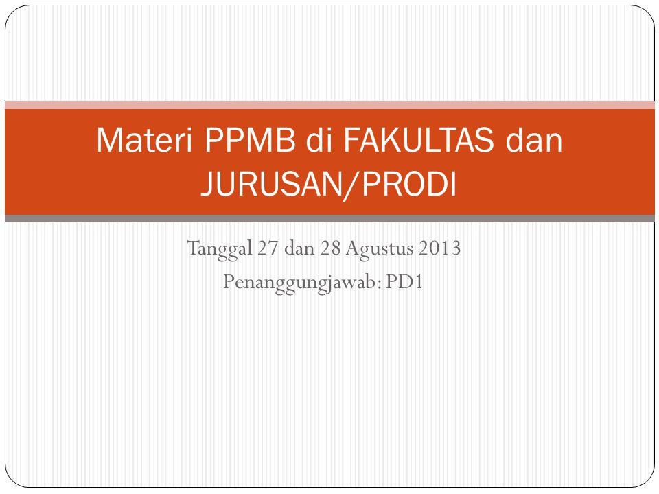 Materi PPMB di FAKULTAS dan JURUSAN/PRODI