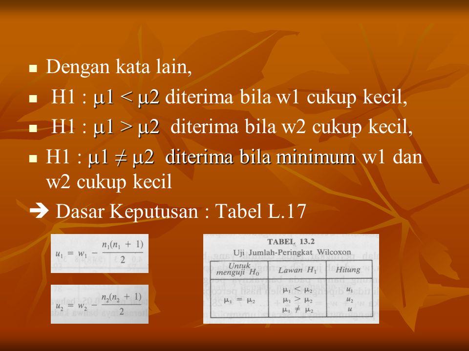 Dengan kata lain, H1 : 1 < 2 diterima bila w1 cukup kecil, H1 : 1 > 2 diterima bila w2 cukup kecil,
