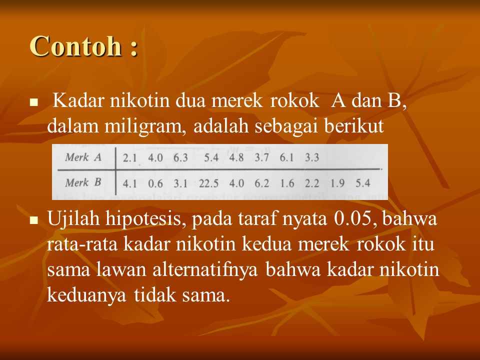 Contoh : Kadar nikotin dua merek rokok A dan B, dalam miligram, adalah sebagai berikut.