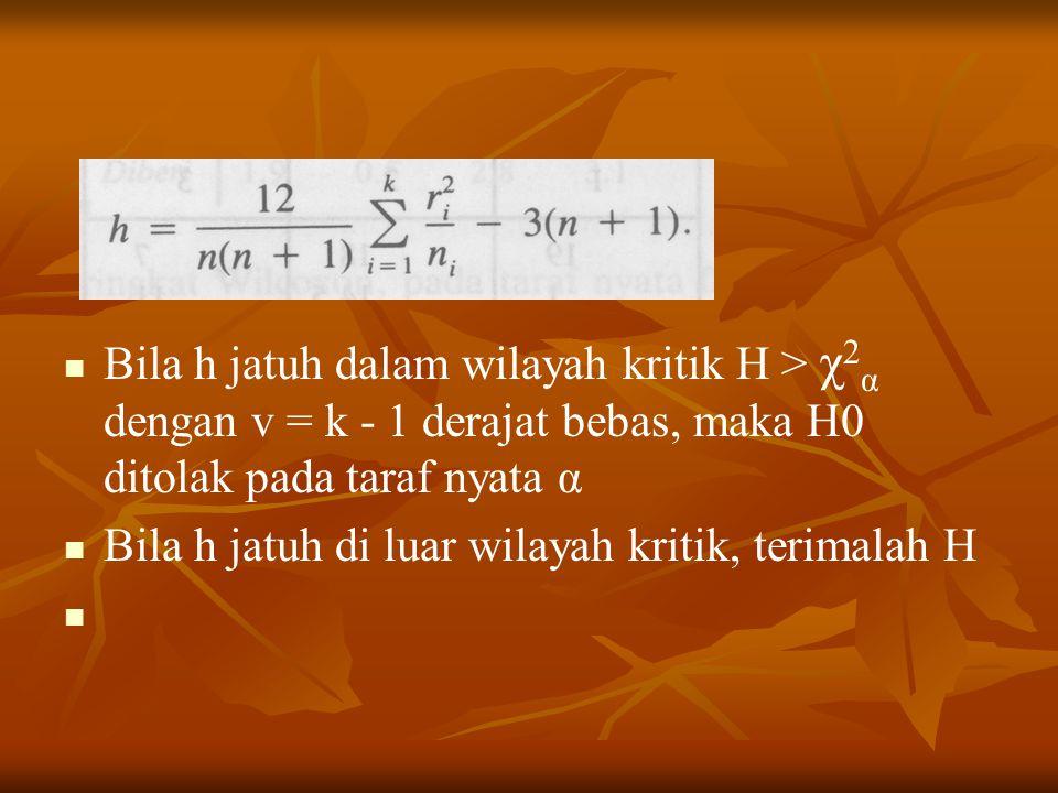 Bila h jatuh dalam wilayah kritik H > χ2α dengan v = k - 1 derajat bebas, maka H0 ditolak pada taraf nyata α