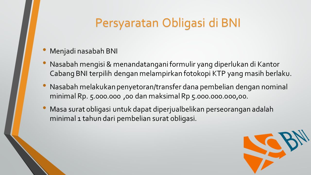 Persyaratan Obligasi di BNI