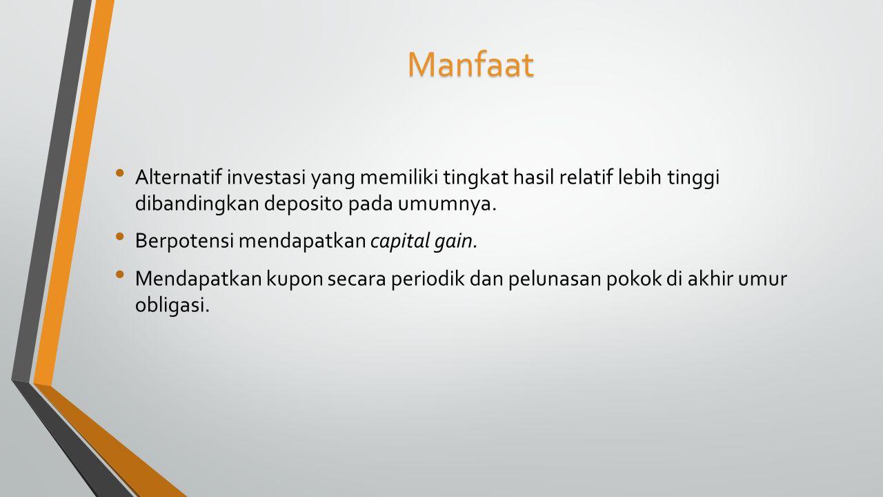 Manfaat Alternatif investasi yang memiliki tingkat hasil relatif lebih tinggi dibandingkan deposito pada umumnya.