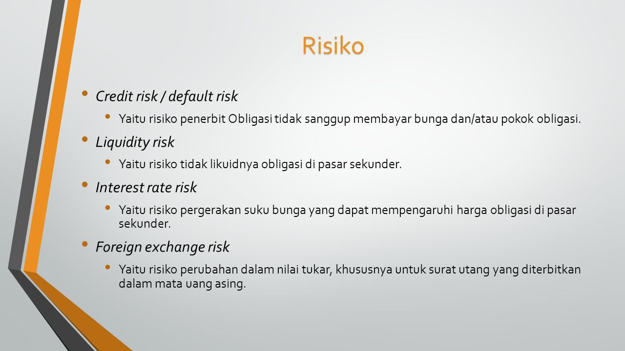 Risiko Credit risk / default risk Liquidity risk Interest rate risk