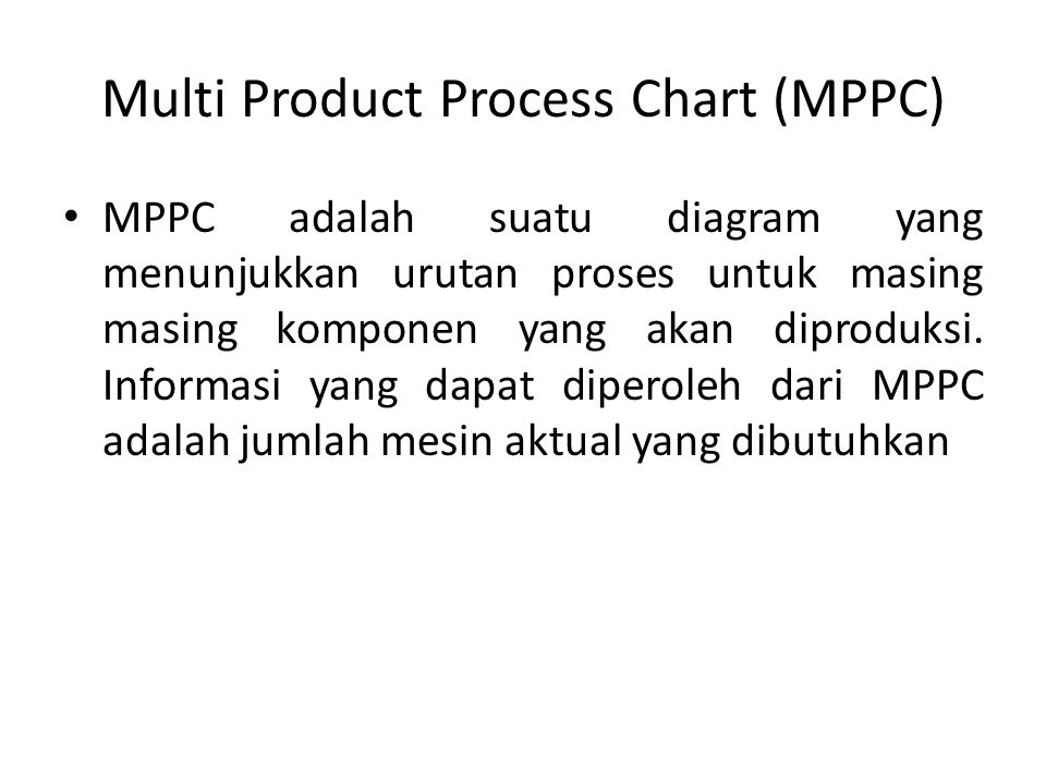 Multi Product Process Chart (MPPC)