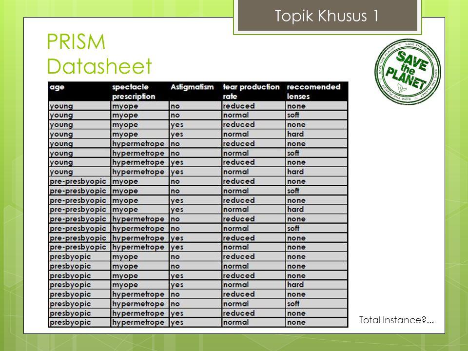 Topik Khusus 1 PRISM Datasheet Total Instance ...