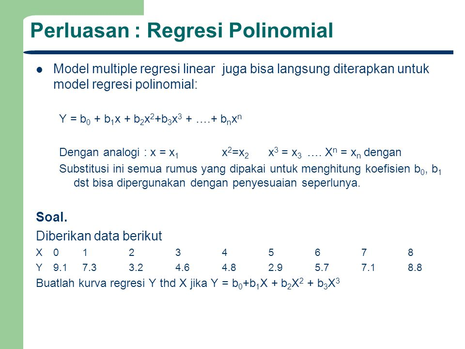 Perluasan : Regresi Polinomial