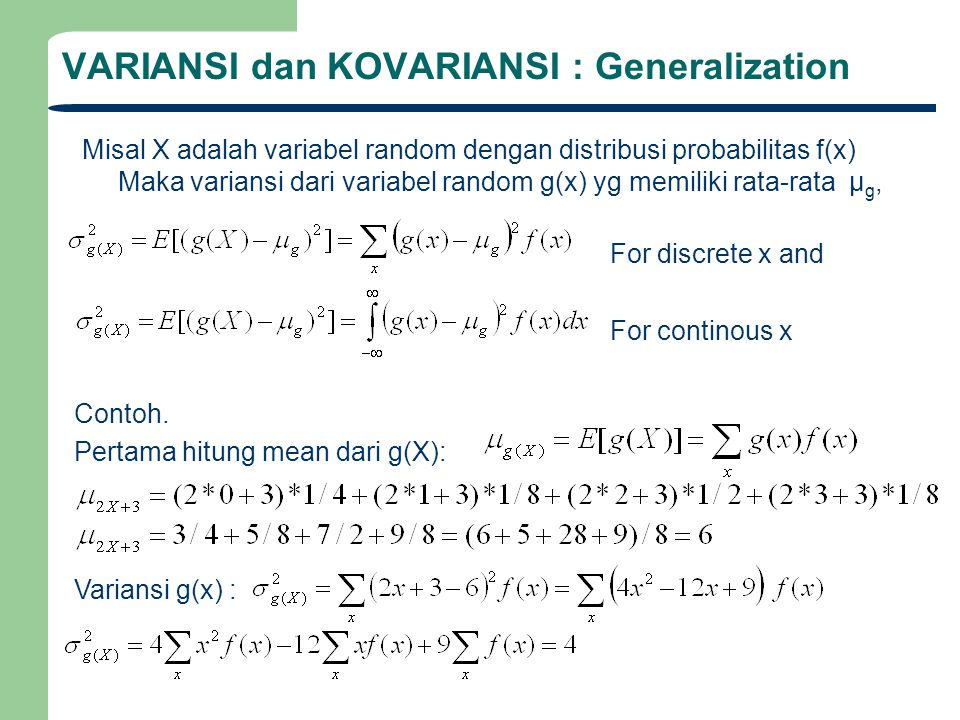 VARIANSI dan KOVARIANSI : Generalization