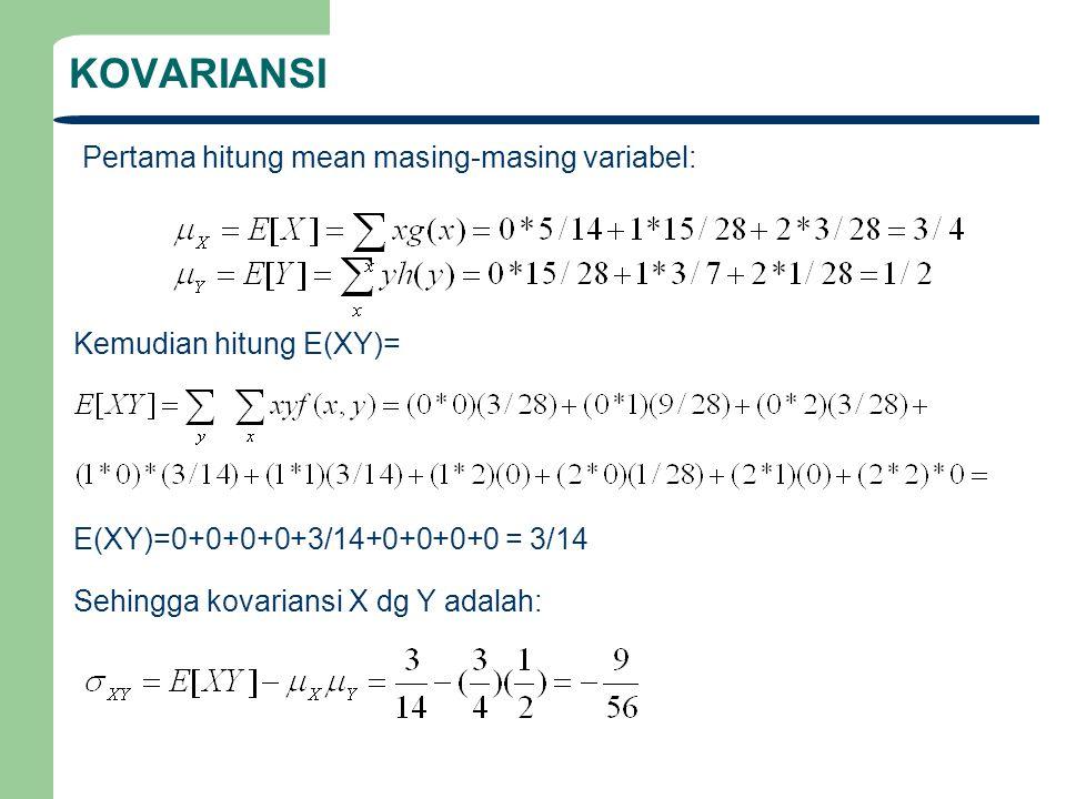 KOVARIANSI Pertama hitung mean masing-masing variabel: