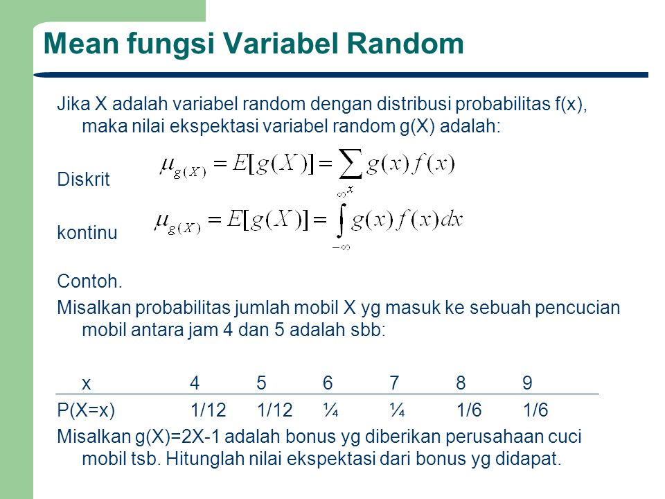 Mean fungsi Variabel Random
