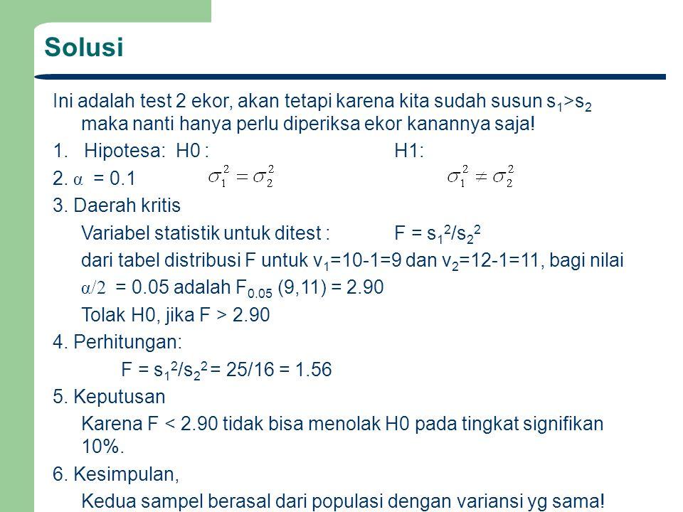 Solusi Ini adalah test 2 ekor, akan tetapi karena kita sudah susun s1>s2 maka nanti hanya perlu diperiksa ekor kanannya saja!