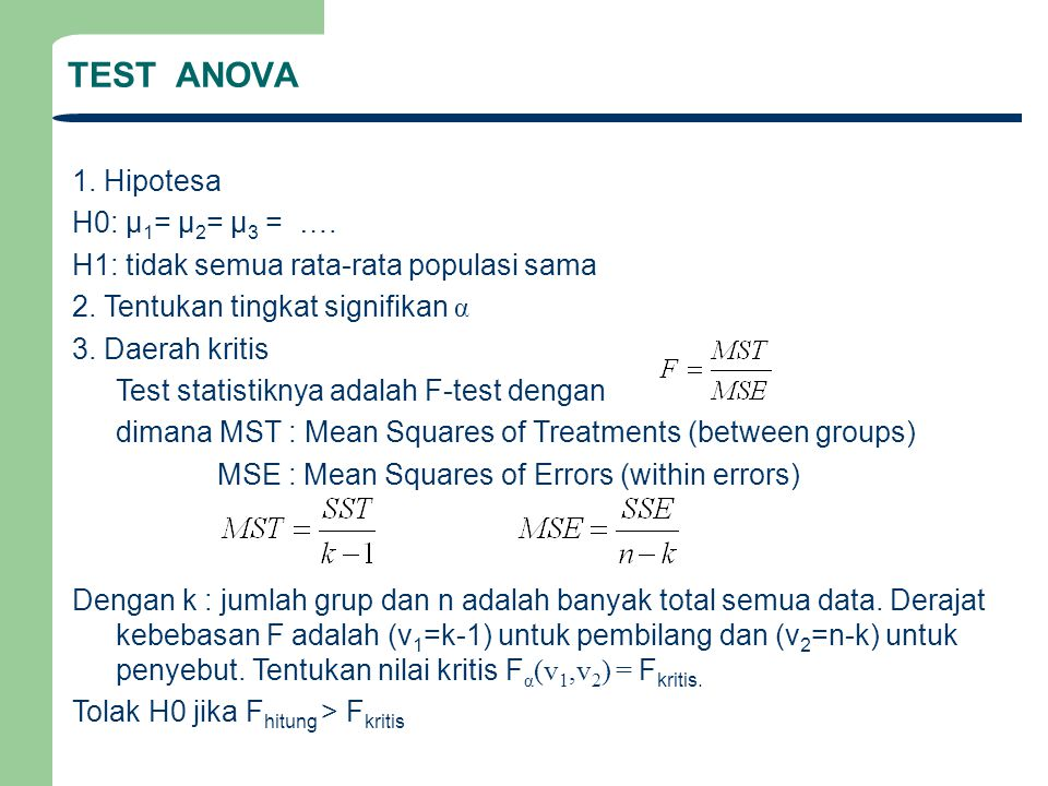 TEST ANOVA 1. Hipotesa H0: μ1= μ2= μ3 = ….
