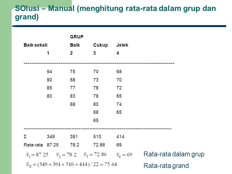 SOlusi – Manual (menghitung rata-rata dalam grup dan grand)