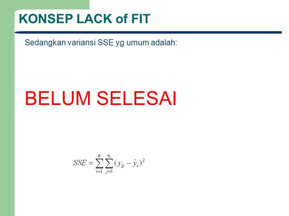 BELUM SELESAI KONSEP LACK of FIT