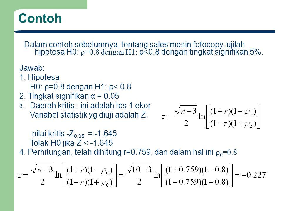 Contoh Dalam contoh sebelumnya, tentang sales mesin fotocopy, ujilah hipotesa H0: ρ=0.8 dengan H1: ρ<0.8 dengan tingkat signifikan 5%.