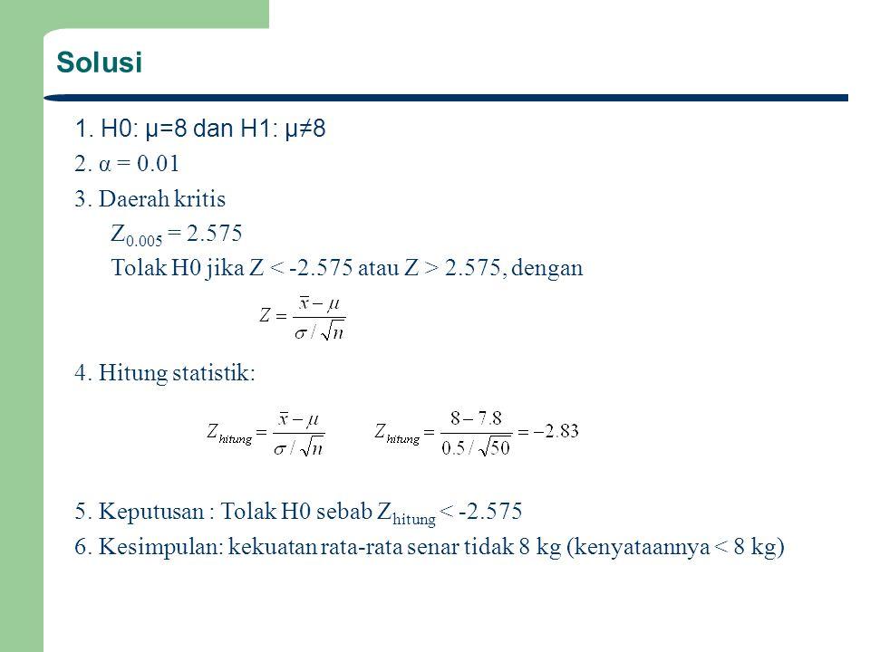 Solusi 1. H0: μ=8 dan H1: μ≠8 2. α = 0.01 3. Daerah kritis