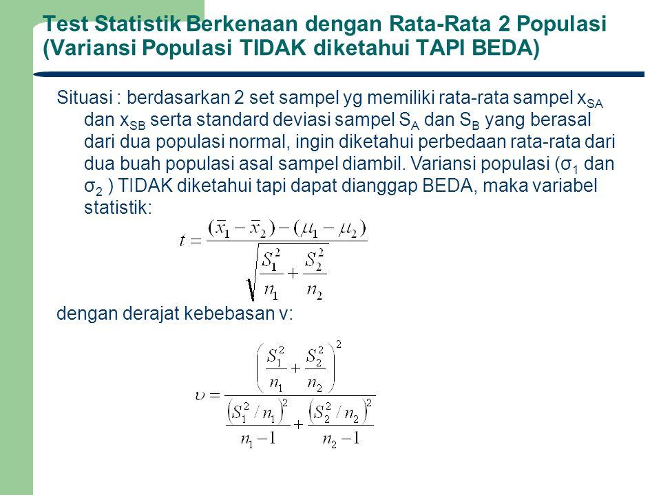 Test Statistik Berkenaan dengan Rata-Rata 2 Populasi (Variansi Populasi TIDAK diketahui TAPI BEDA)
