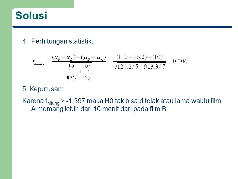 Solusi 4. Perhitungan statistik: 5. Keputusan: