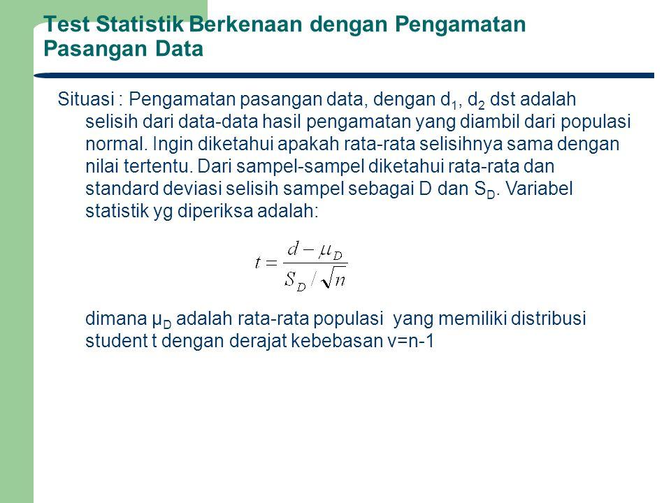Test Statistik Berkenaan dengan Pengamatan Pasangan Data