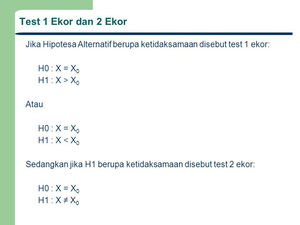 Test 1 Ekor dan 2 Ekor Jika Hipotesa Alternatif berupa ketidaksamaan disebut test 1 ekor: H0 : X = X0.