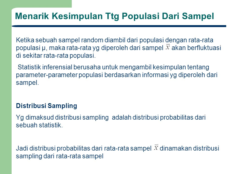 Menarik Kesimpulan Ttg Populasi Dari Sampel