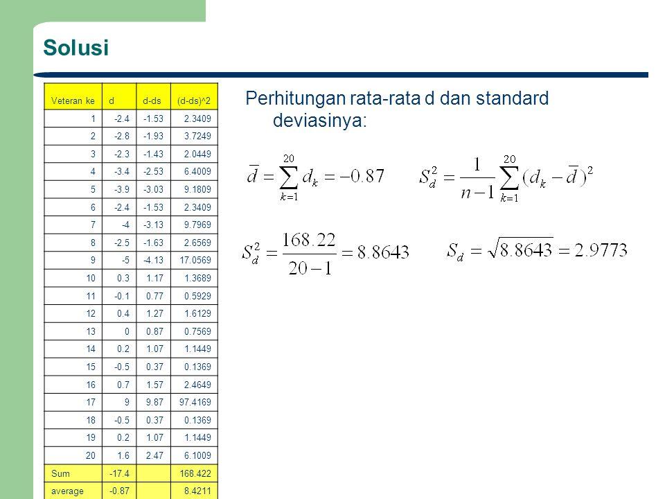 Solusi Perhitungan rata-rata d dan standard deviasinya: Veteran ke d