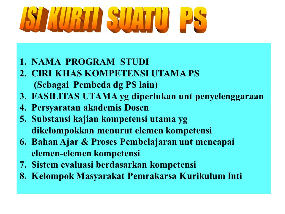 ISI KURTI SUATU PS 1. NAMA PROGRAM STUDI