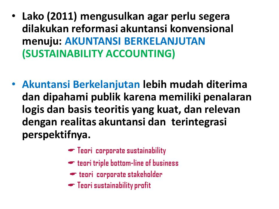 Teori corporate sustainability