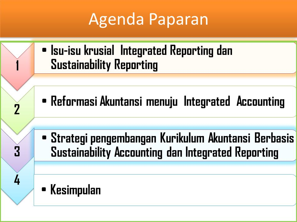 Agenda Paparan 1. Isu-isu krusial Integrated Reporting dan Sustainability Reporting. 2. Reformasi Akuntansi menuju Integrated Accounting.