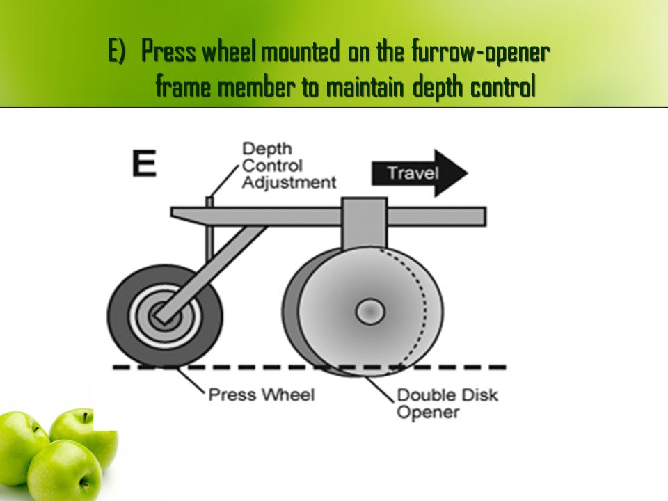 E) Press wheel mounted on the furrow-opener frame member to maintain depth control