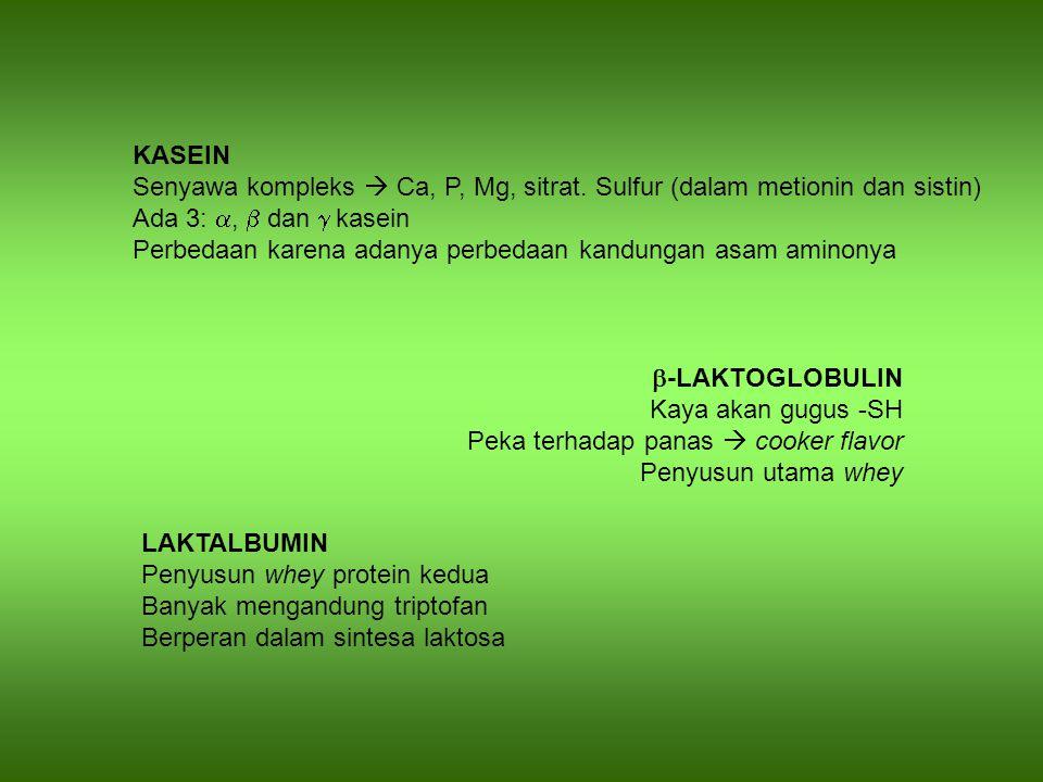 KASEIN Senyawa kompleks  Ca, P, Mg, sitrat. Sulfur (dalam metionin dan sistin) Ada 3: a, b dan g kasein.