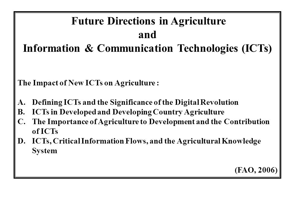 Information & Communication Technologies (ICTs)