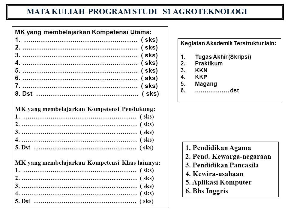 MATA KULIAH PROGRAM STUDI S1 AGROTEKNOLOGI