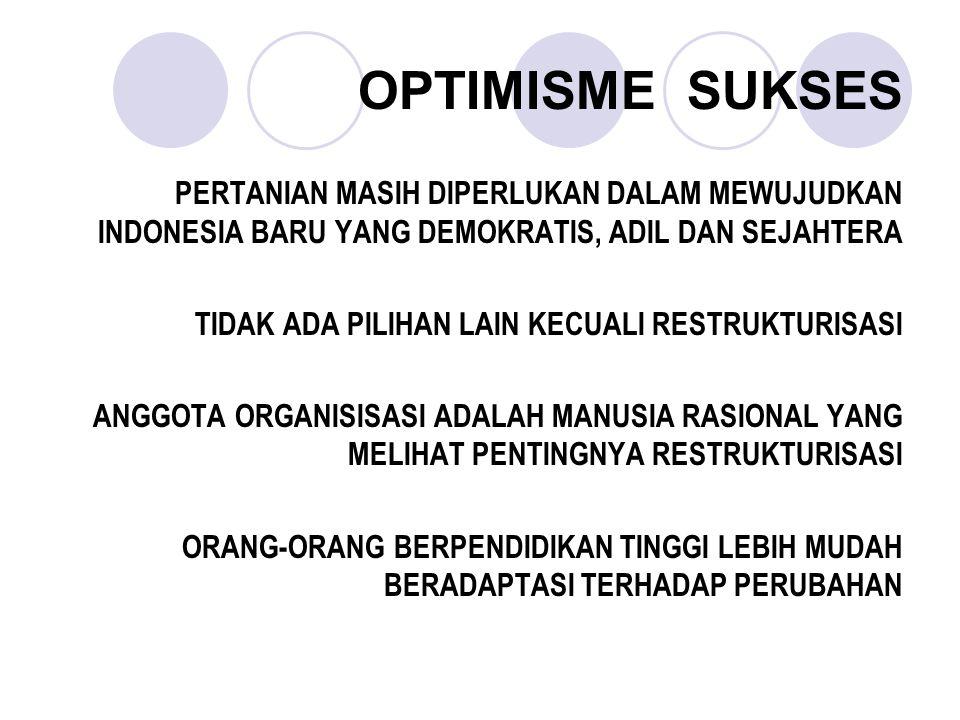 OPTIMISME SUKSES PERTANIAN MASIH DIPERLUKAN DALAM MEWUJUDKAN INDONESIA BARU YANG DEMOKRATIS, ADIL DAN SEJAHTERA.