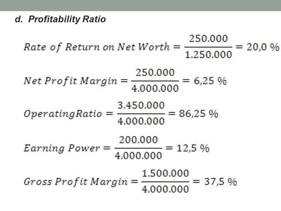 d. Profitability Ratio