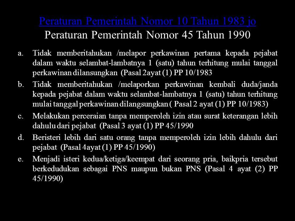 Peraturan Pemerintah Nomor 10 Tahun 1983 jo Peraturan Pemerintah Nomor 45 Tahun 1990