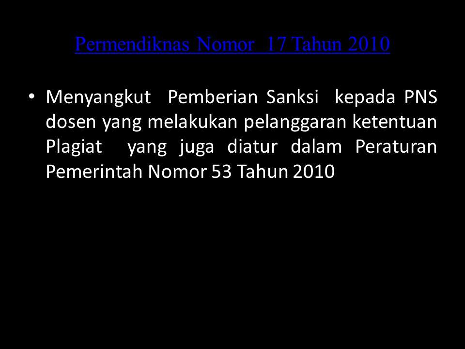 Permendiknas Nomor 17 Tahun 2010