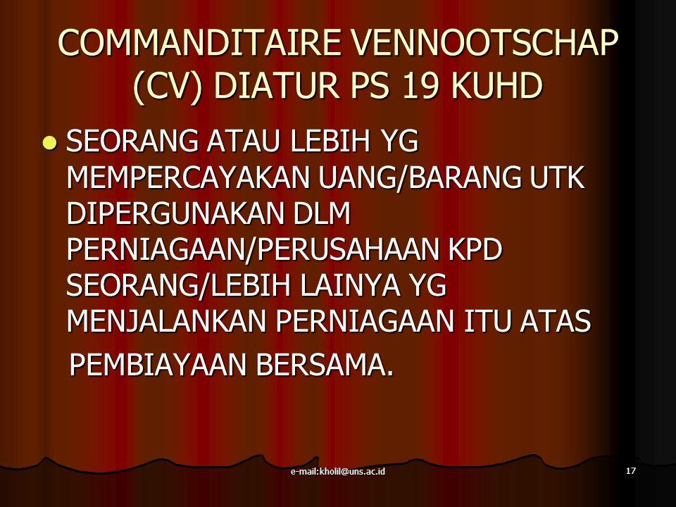 COMMANDITAIRE VENNOOTSCHAP (CV) DIATUR PS 19 KUHD