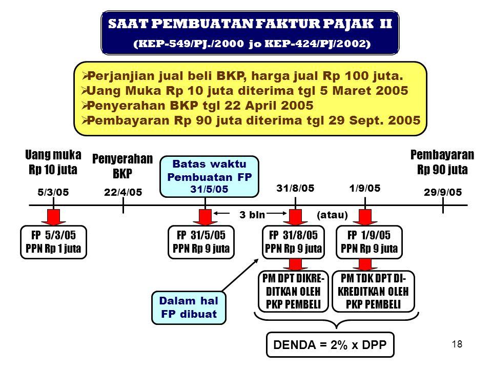 SAAT PEMBUATAN FAKTUR PAJAK II (KEP-549/PJ./2000 jo KEP-424/PJ/2002)