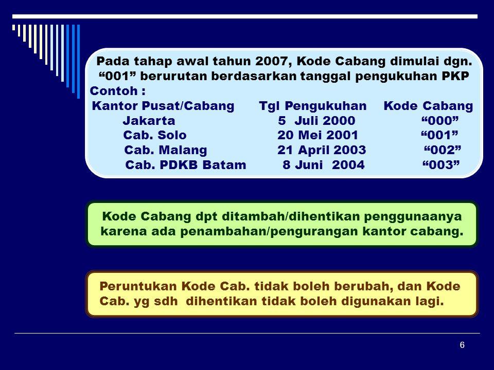 Pada tahap awal tahun 2007, Kode Cabang dimulai dgn.