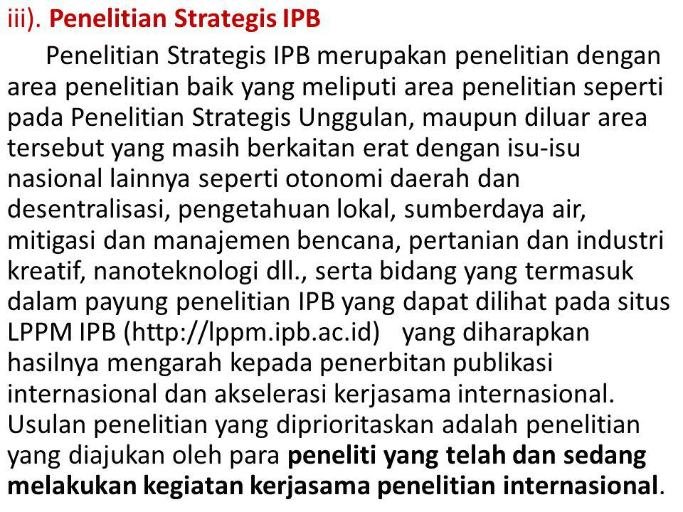 iii). Penelitian Strategis IPB