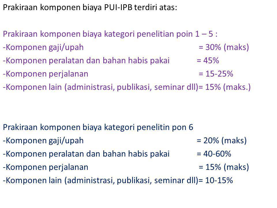 Prakiraan komponen biaya PUI-IPB terdiri atas: