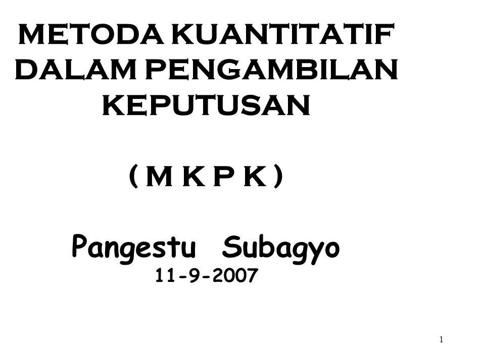 METODA KUANTITATIF DALAM PENGAMBILAN KEPUTUSAN ( M K P K ) Pangestu Subagyo 11-9-2007