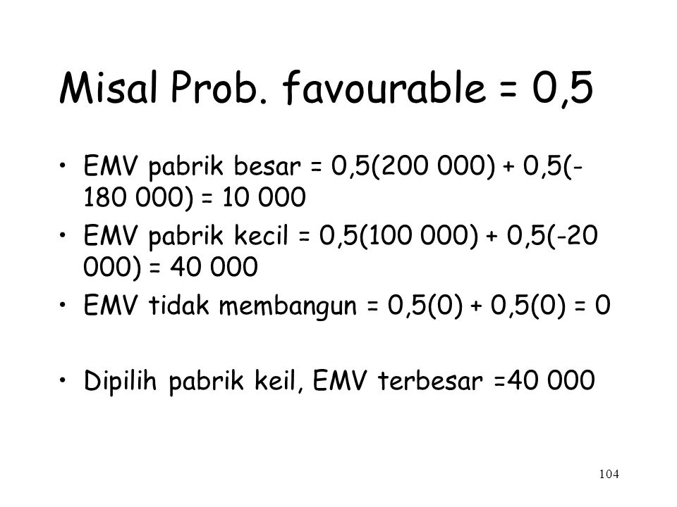 Misal Prob. favourable = 0,5