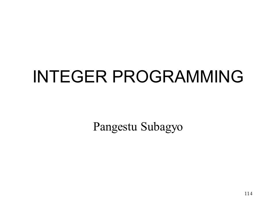 INTEGER PROGRAMMING Pangestu Subagyo