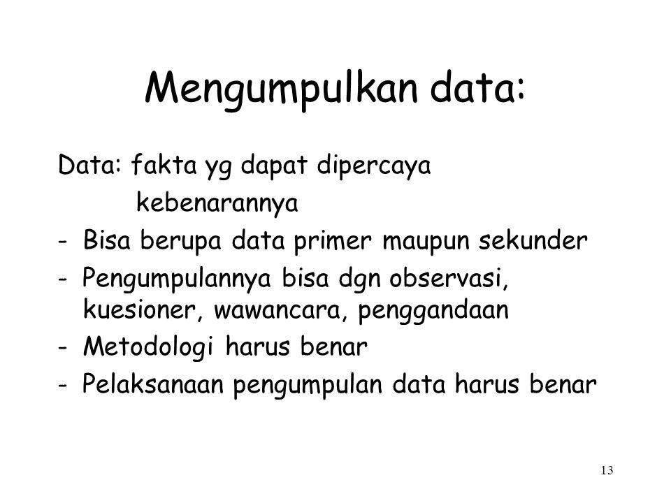 Mengumpulkan data: Data: fakta yg dapat dipercaya kebenarannya