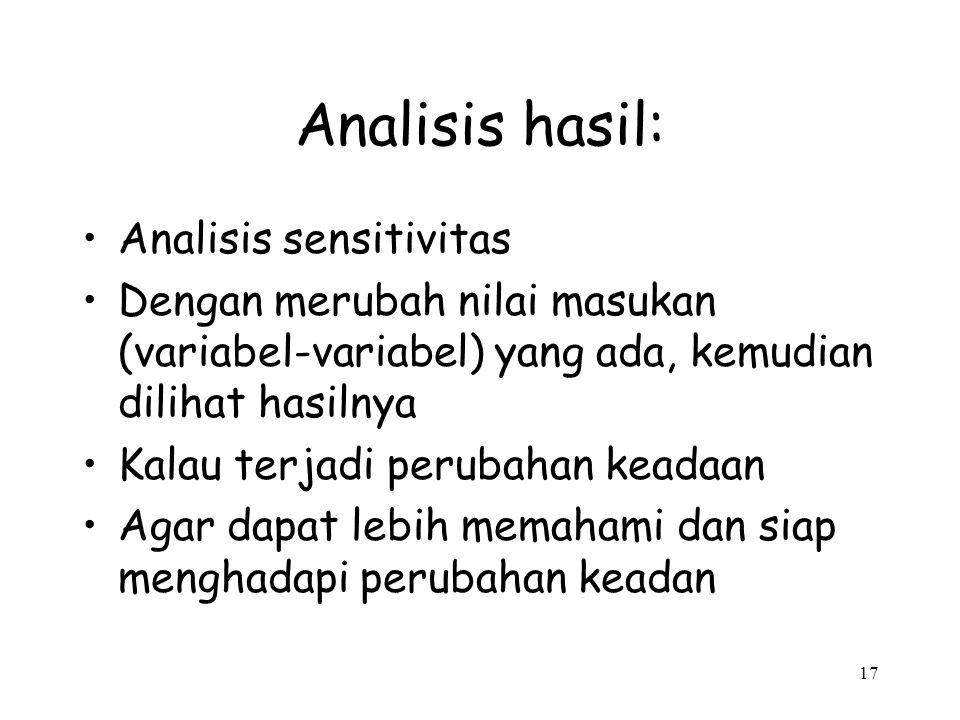 Analisis hasil: Analisis sensitivitas