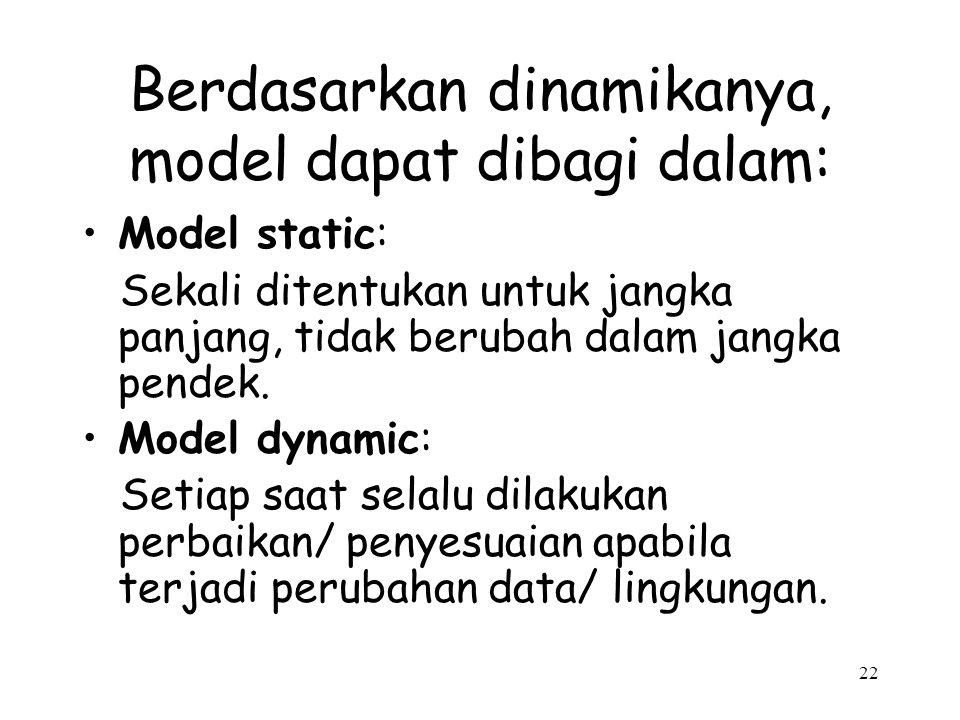 Berdasarkan dinamikanya, model dapat dibagi dalam: