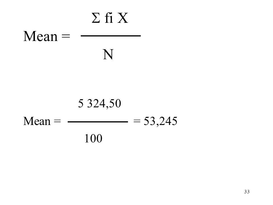 S fi X Mean = N 5 324,50. Mean = = 53,245.
