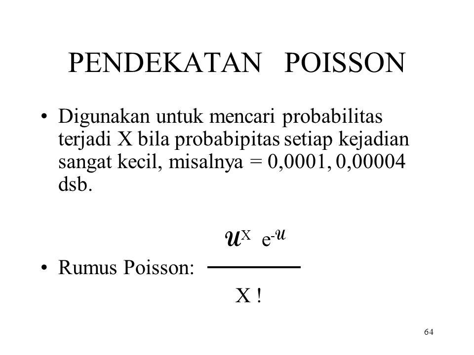PENDEKATAN POISSON Digunakan untuk mencari probabilitas terjadi X bila probabipitas setiap kejadian sangat kecil, misalnya = 0,0001, 0,00004 dsb.