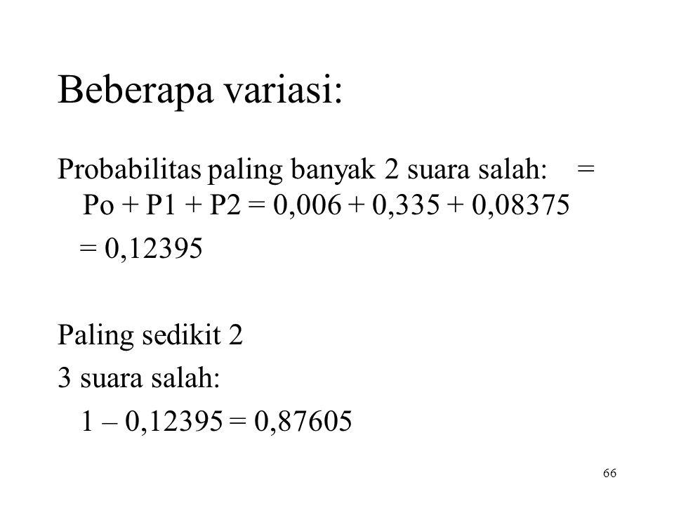 Beberapa variasi: Probabilitas paling banyak 2 suara salah: = Po + P1 + P2 = 0,006 + 0,335 + 0,08375.
